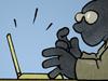Hacker Sturmhaube Handschuhe Medien